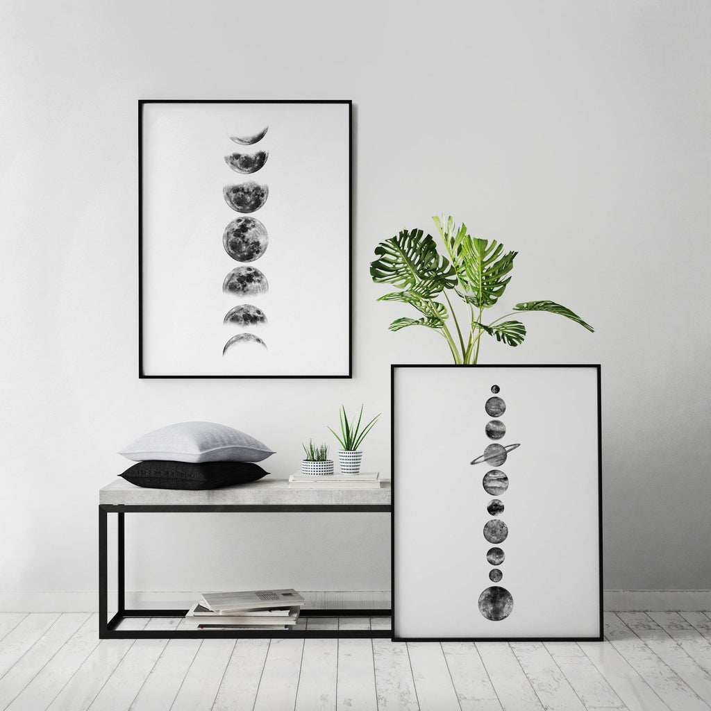 Black and White Phases of the Moon Poster Space Prints - Timiko Studio