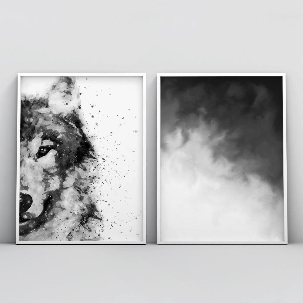 Modern Black and White Painting Wall Art Poster 1 Paintings - Timiko Studio