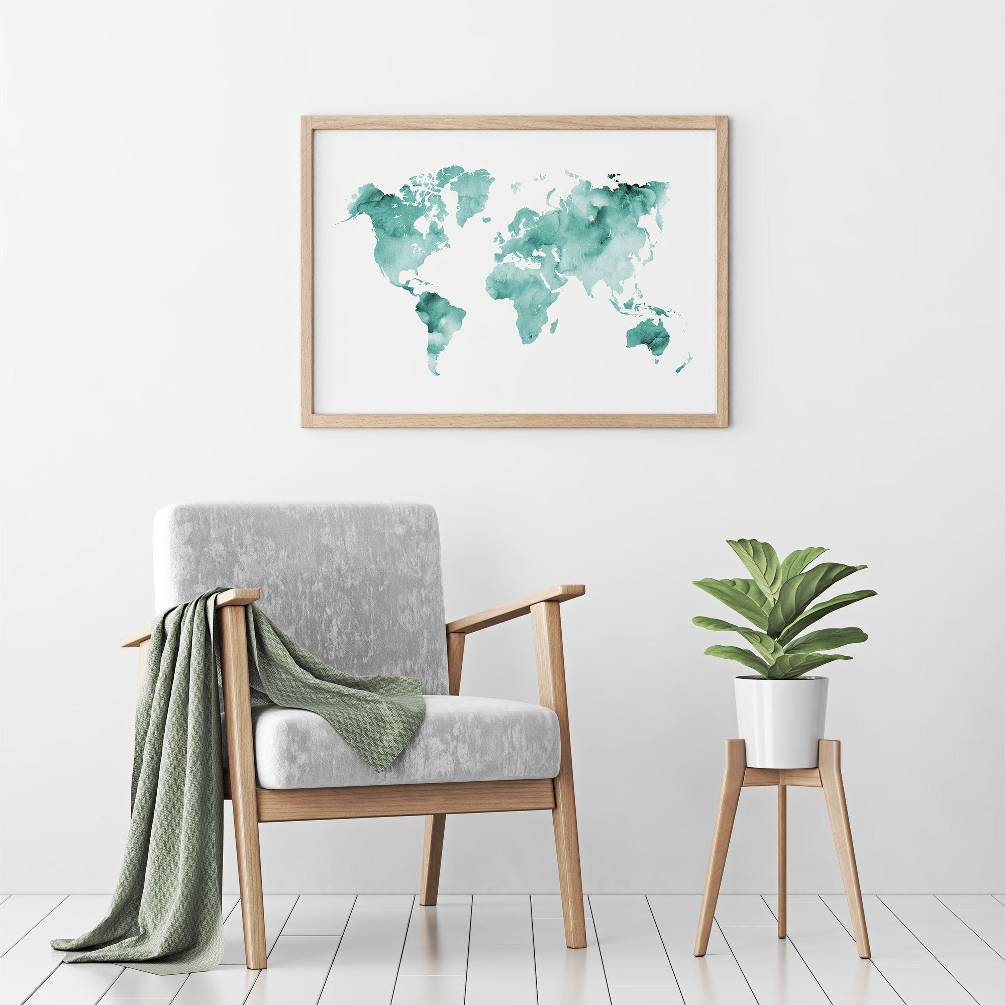 Deep blue watercolour world map poster timiko studio turquoise teal watercolour world map poster print in wood frame above modern chair turquoise teal watercolour world map poster print in wood frame above gumiabroncs Images