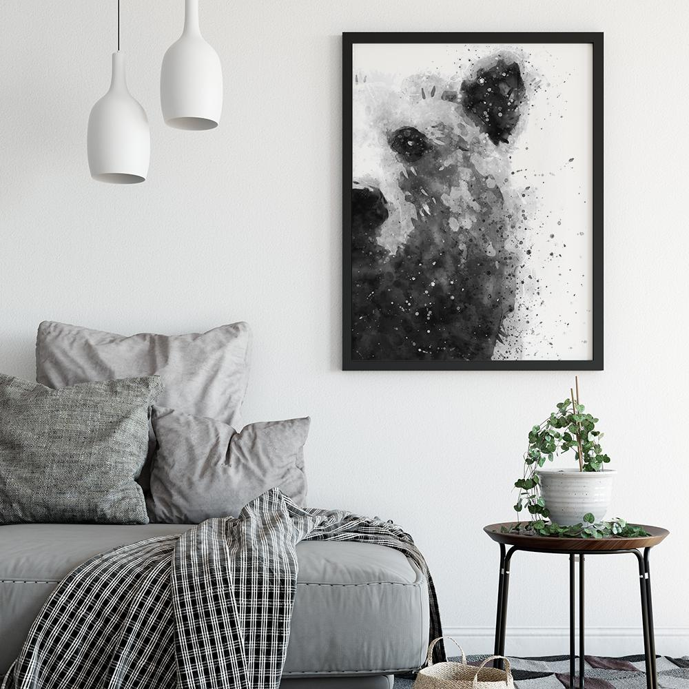 Black and White Abstract Bear Painting Poster Animal Prints - Timiko Studio