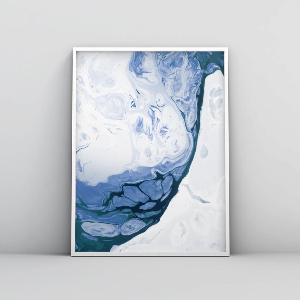 Abstract Deep Blue Fluid Painting Poster 1 Paintings - Timiko Studio
