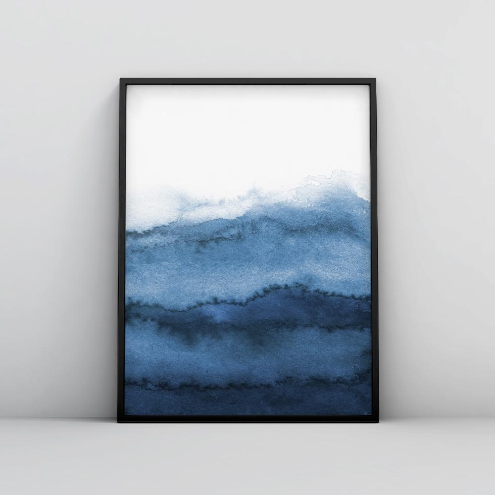 Modern Indigo Blue Painting Poster 1 Paintings - Timiko Studio