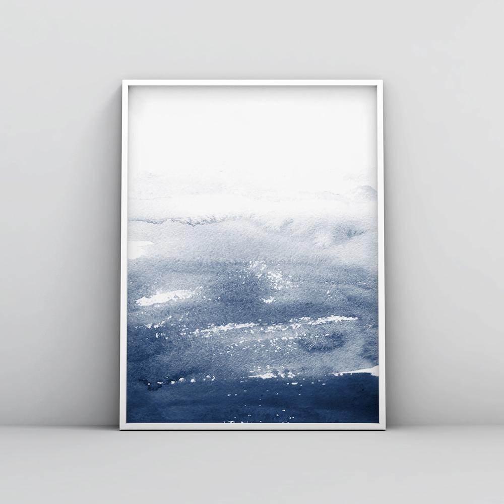 Minimalist Blue Watercolour Painting 1 Paintings - Timiko Studio