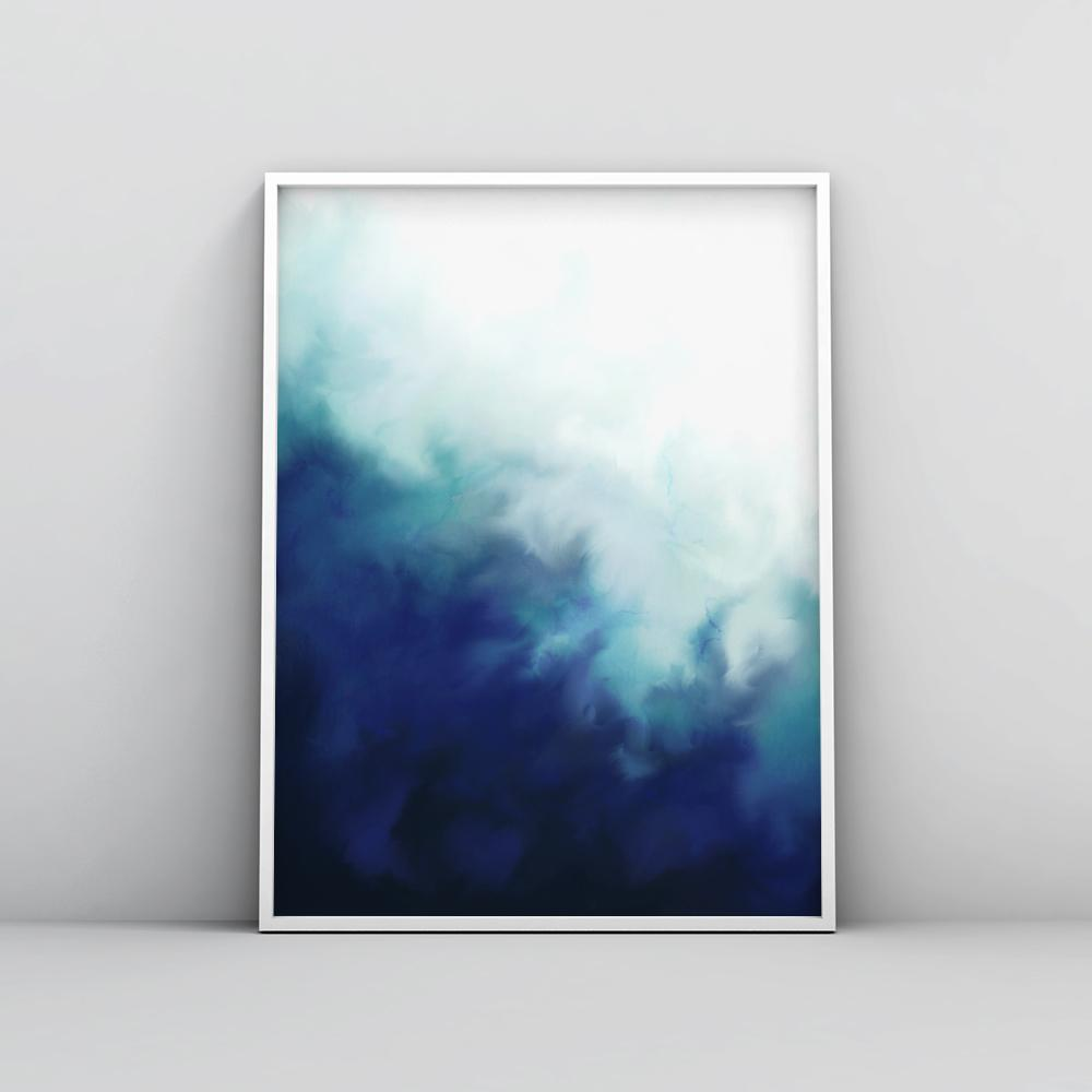Modern Electric Blue Fluid Wall Art Poster Paintings - Timiko Studio