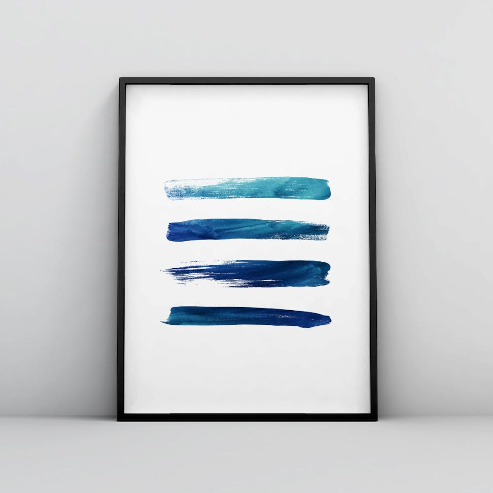 Modern Horizontal Brush Strokes Art Poster Brush Stroke - Timiko Studio