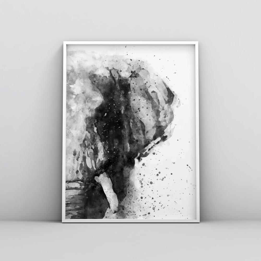 Black and white abstract elephant painting poster animal prints timiko studio black and white abstract elephant painting poster animal prints timiko