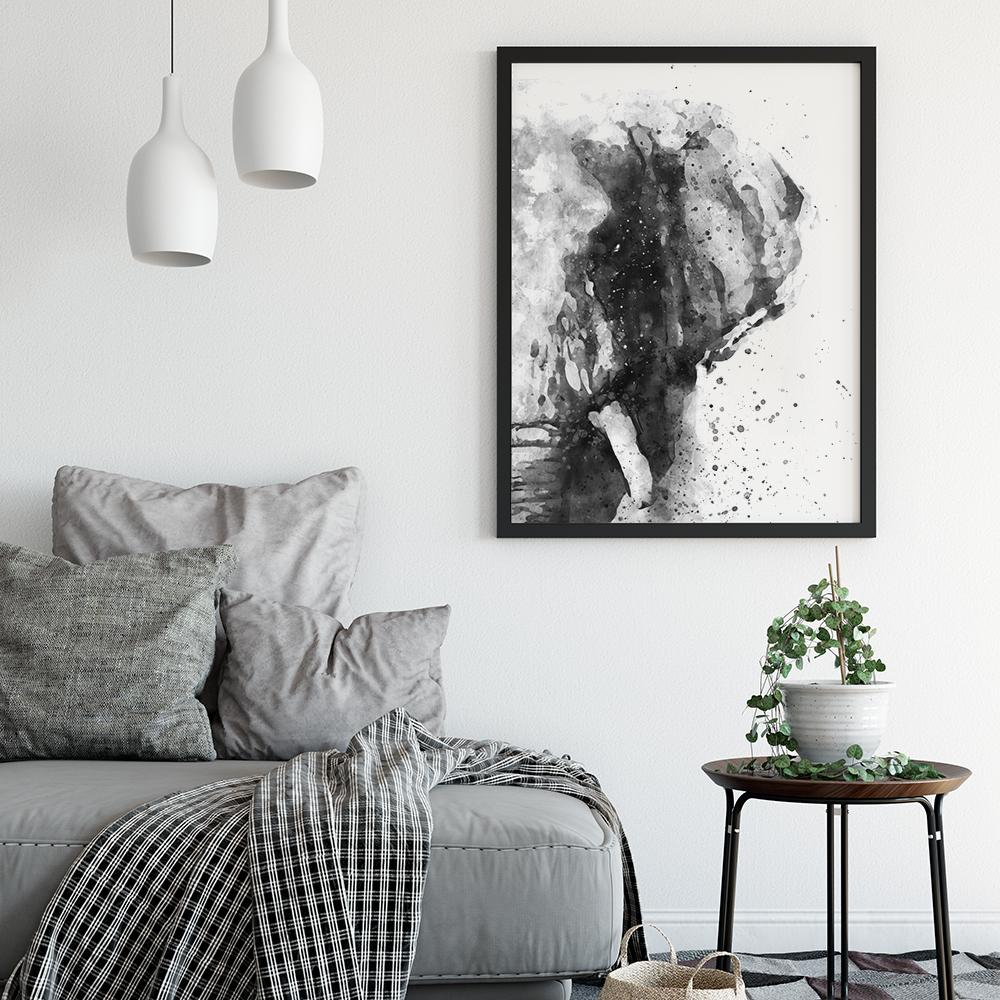 Black and White Abstract Elephant Painting Poster Animal Prints - Timiko Studio