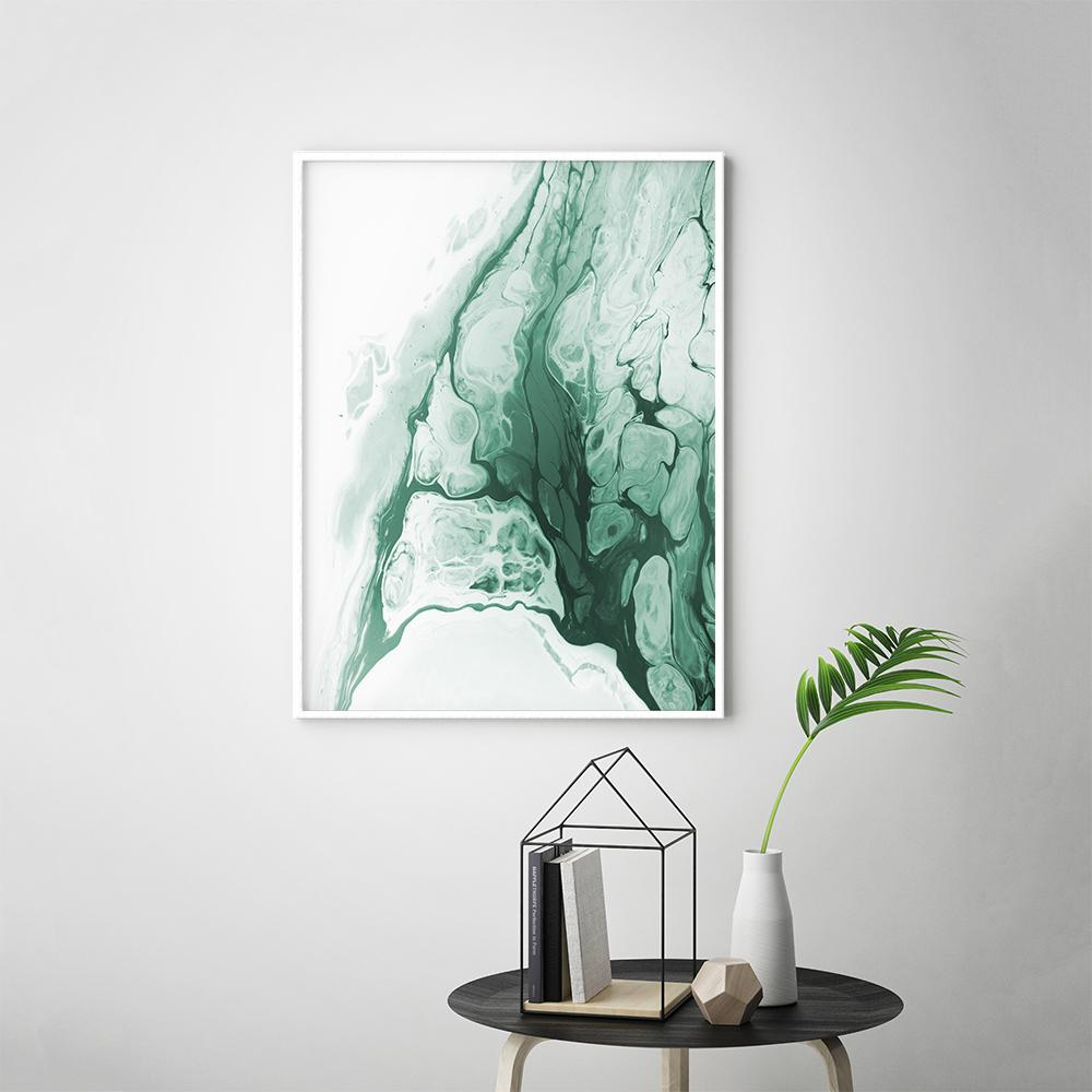 Abstract Forest Green Fluid Painting Poster 2 Paintings - Timiko Studio