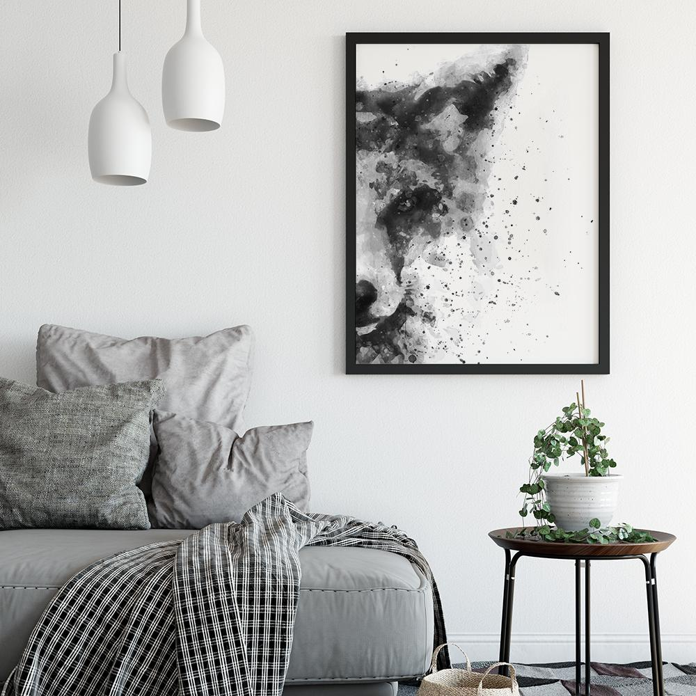 Black and White Abstract Fox Painting Poster Animal Prints - Timiko Studio