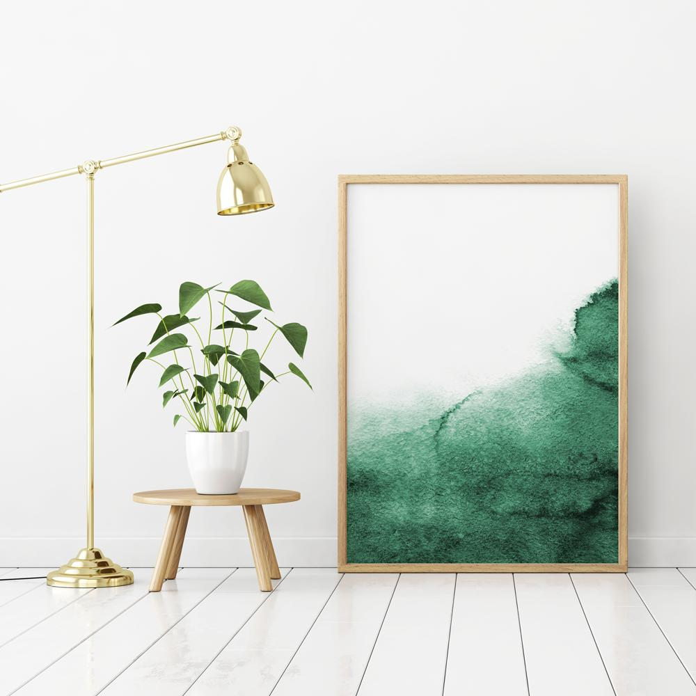 Abstract Emerald Green Watercolour Painting 1 Paintings - Timiko Studio