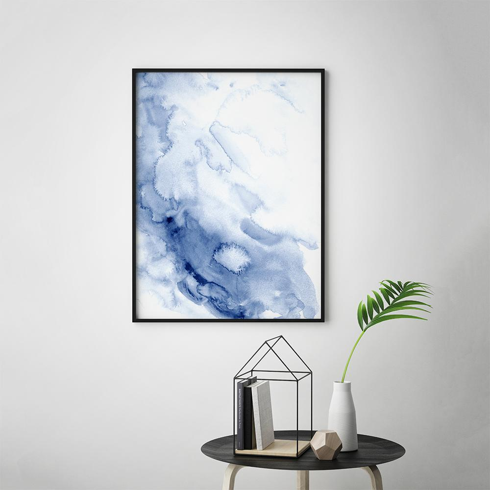 Abstract Blue Ink Wash Watercolor Art Print Ink Wash - Timiko Studio