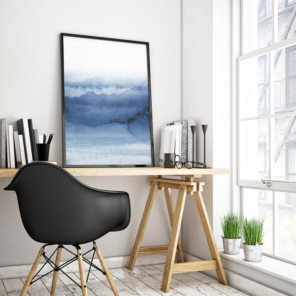 Abstract Blue Landscape Painting Poster 1 Paintings - Timiko Studio