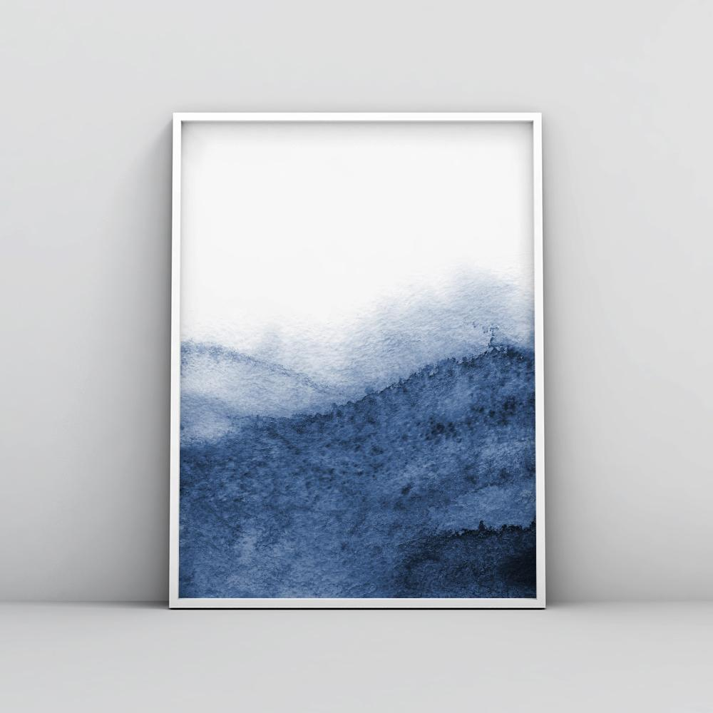 Modern Indigo Blue Painting Poster 2 Paintings - Timiko Studio