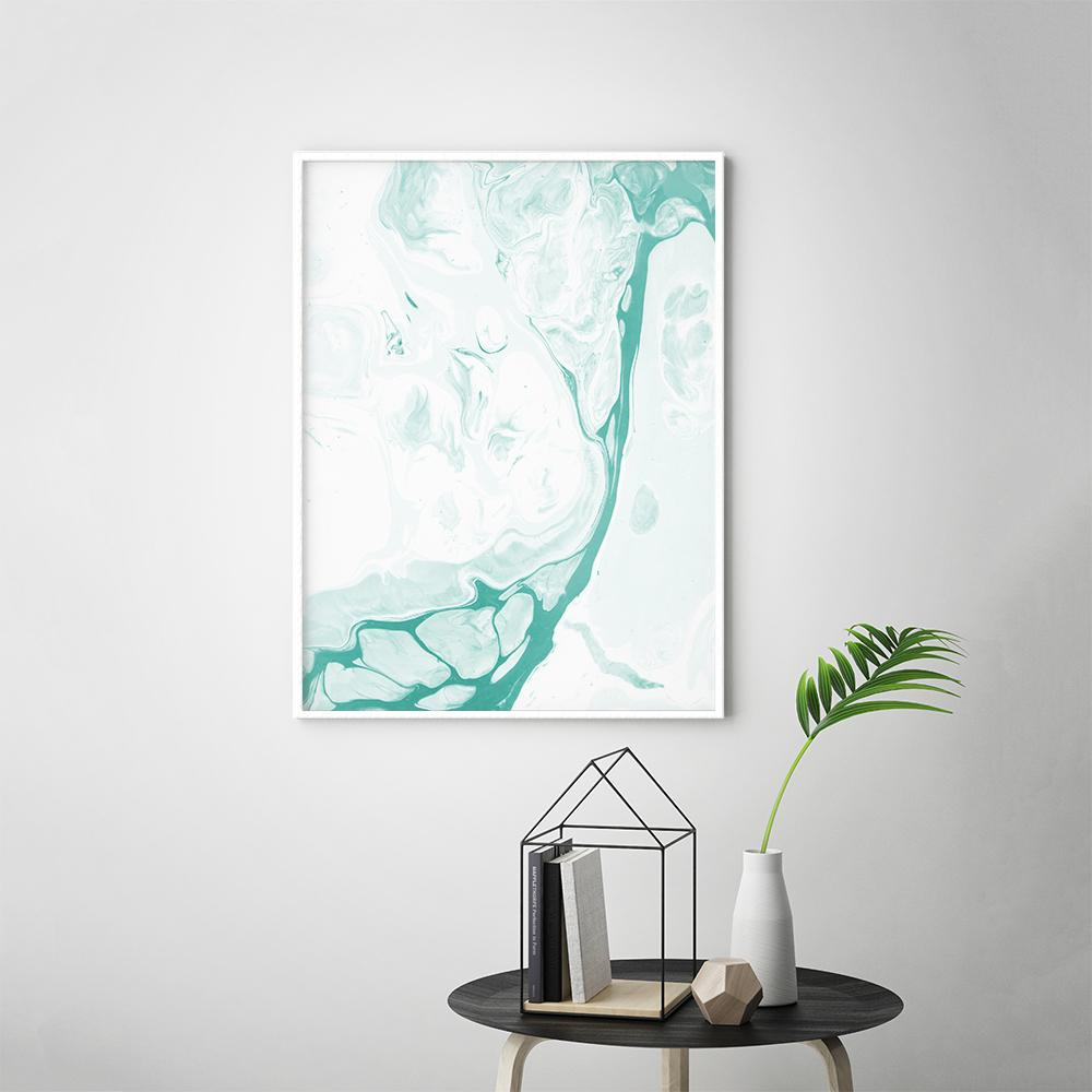Abstract Pastel Teal Fluid Painting Poster 2 Paintings - Timiko Studio
