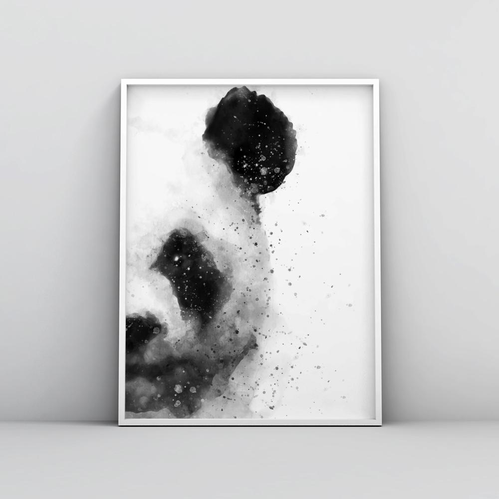 Black and White Abstract Panda Painting Poster Animal Prints - Timiko Studio