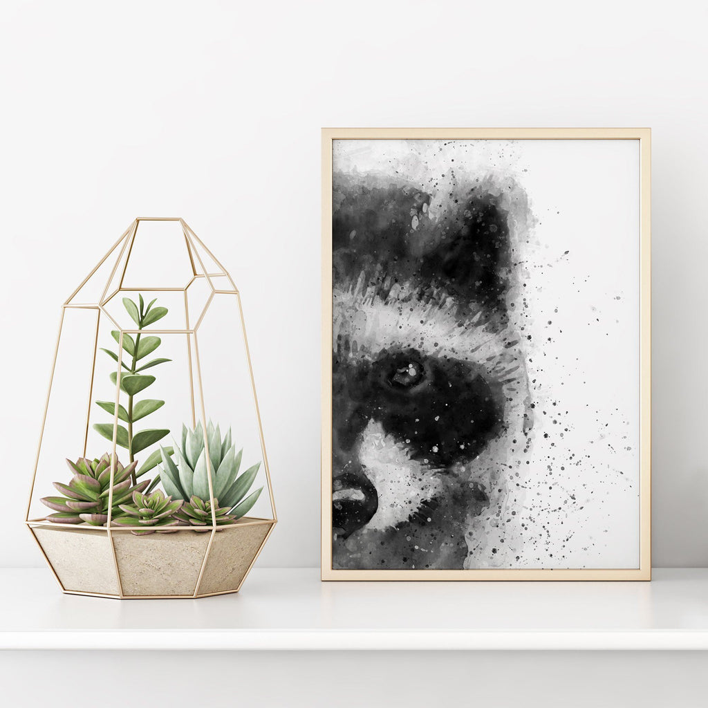 Black and White Abstract Racoon Painting Poster Animal Prints - Timiko Studio