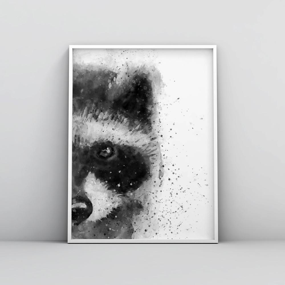 Black and white abstract racoon painting poster animal prints timiko studio black and white abstract racoon painting poster animal prints timiko studio