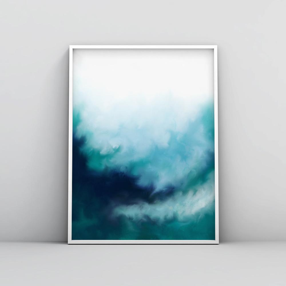 Modern Blue Green Fluid Wall Art Poster Paintings - Timiko Studio