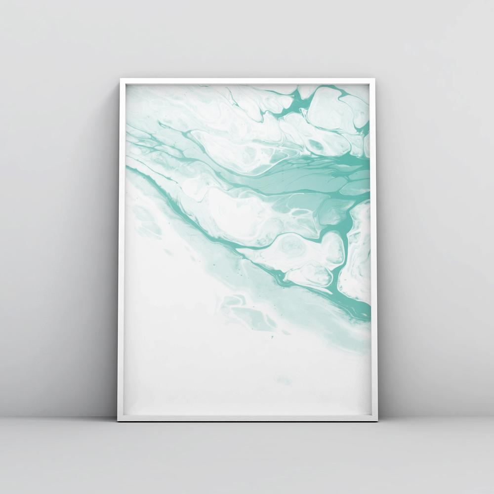 Abstract Pastel Teal Fluid Painting Poster 1 Paintings - Timiko Studio