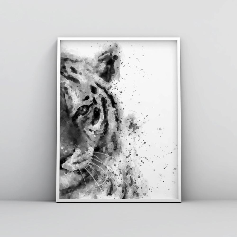 Black and white abstract tiger painting poster