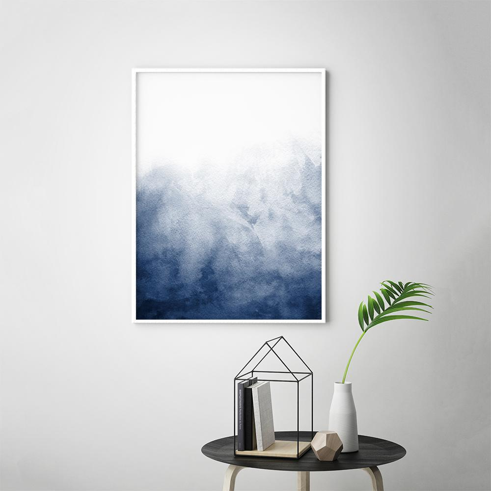 Minimalist Blue Watercolour Painting 3 Paintings - Timiko Studio