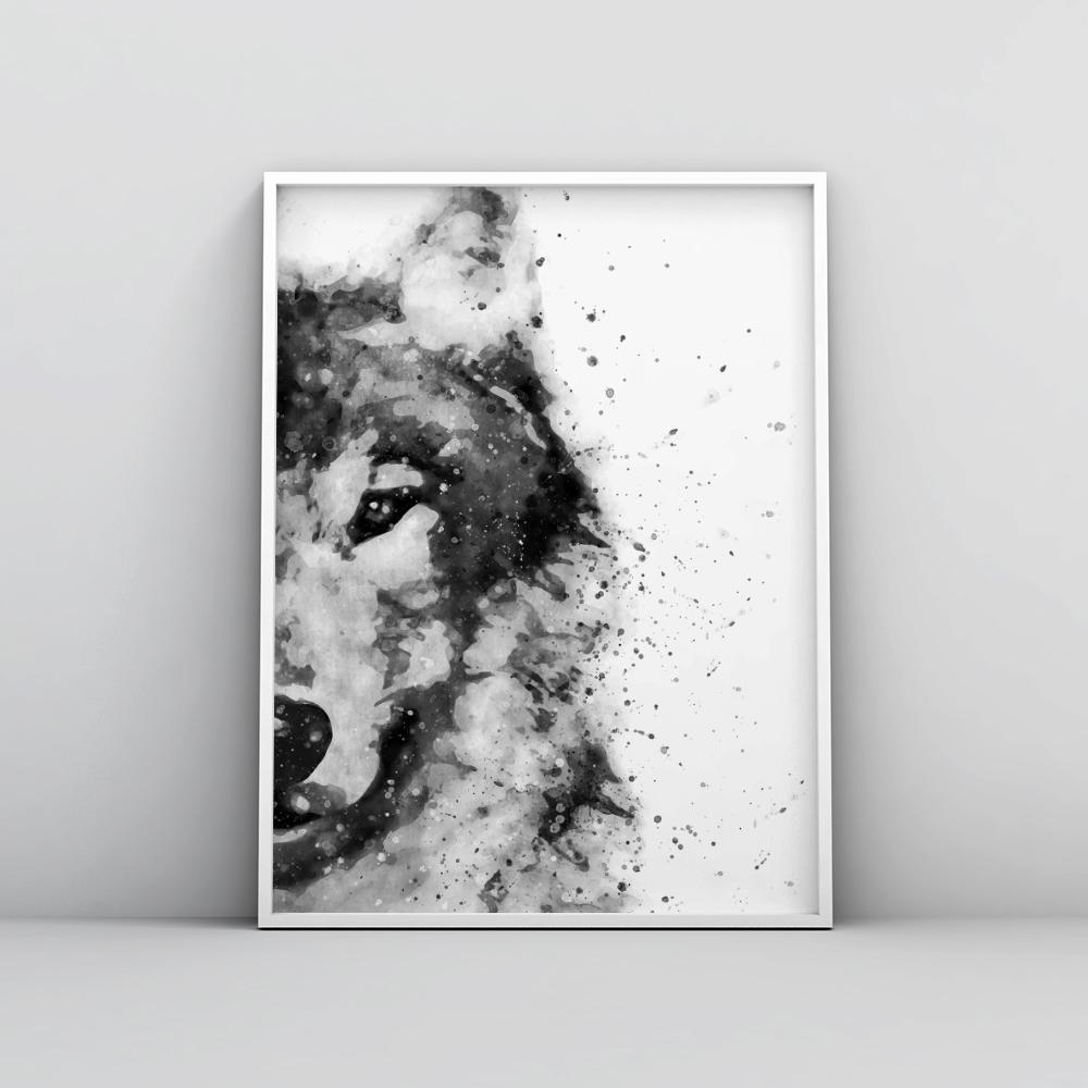 Black and white abstract wolf painting poster animal prints timiko studio black and white abstract wolf painting poster animal prints timiko studio