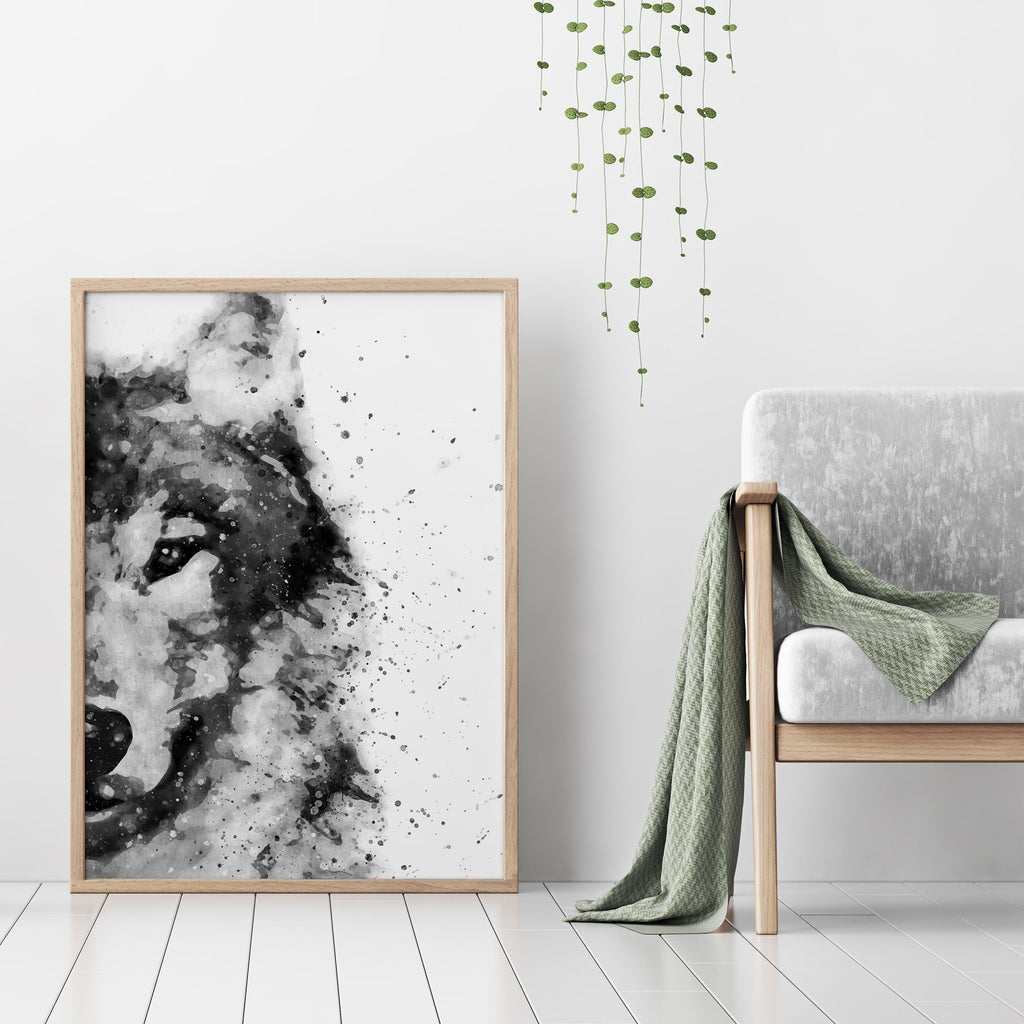 Black and White Abstract Wolf Painting Poster Animal Prints - Timiko Studio