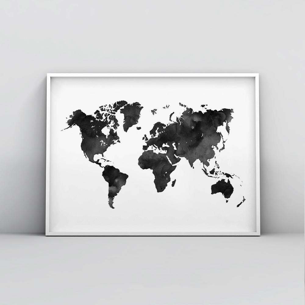 Deep blue watercolour world map poster timiko studio black and white modern and minimalistic world map painted in watercolour displayed in a white gumiabroncs Images