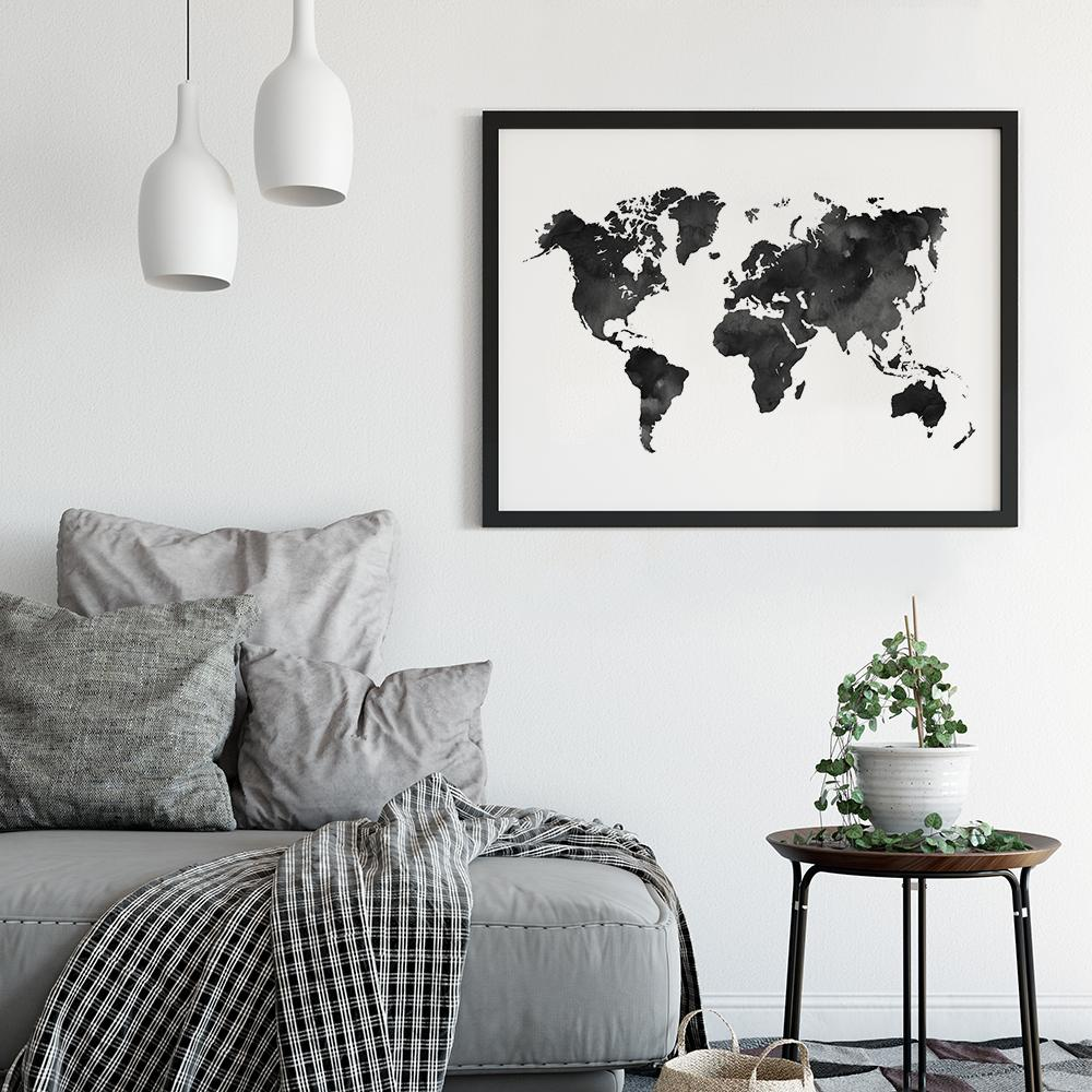 Black and white watercolour world map poster timiko studio black and white watercolour world map poster maps timiko studio black and white watercolour world map poster maps timiko studio gumiabroncs Choice Image