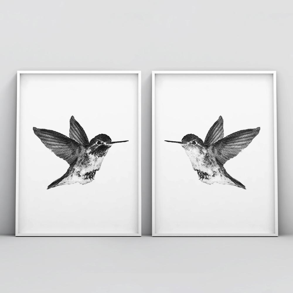 Black and white hummingbirds 2 piece poster set set of 2 prints timiko studio black and white hummingbirds 2 piece poster set set of 2 prints timiko