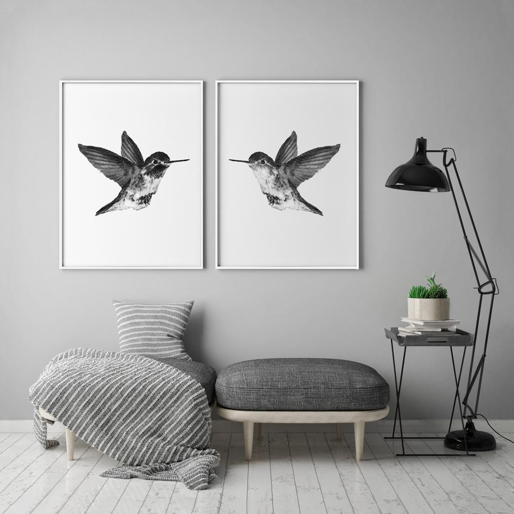 Black and white hummingbirds 2 piece poster set timiko studio