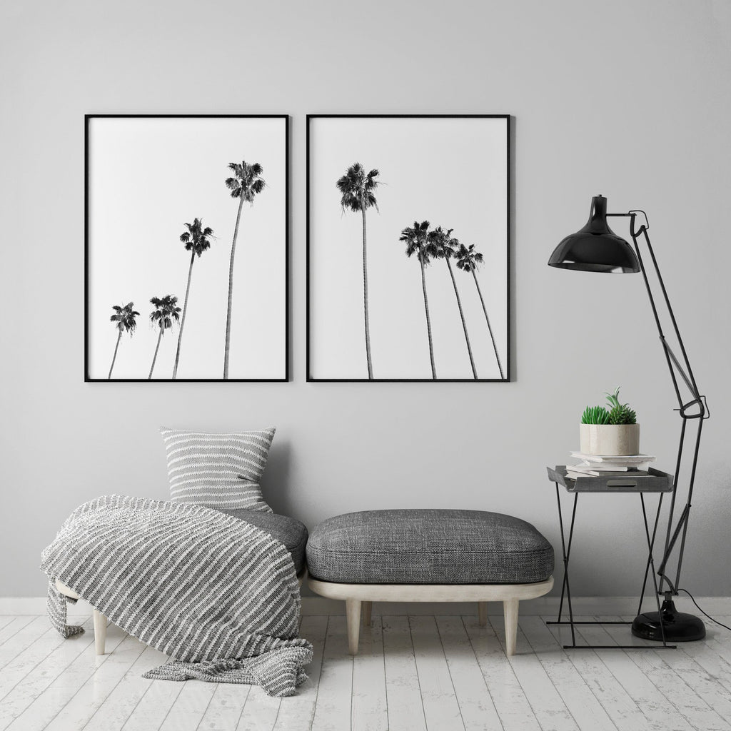 Black and White Palm Trees Set of 2 Poster Set of 2 Prints - Timiko Studio