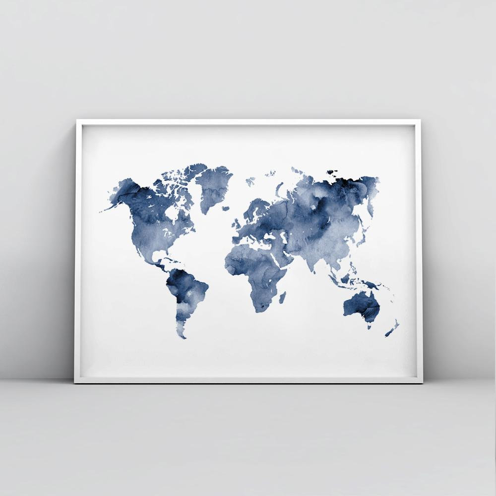 Deep blue watercolour world map poster timiko studio modern blue watercolour world map poster in white frame modern blue watercolour world map poster in white frame gumiabroncs Images
