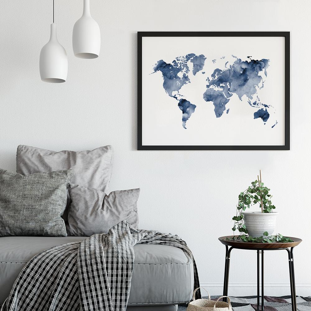 Deep Blue Watercolour World Map Poster Maps - Timiko Studio