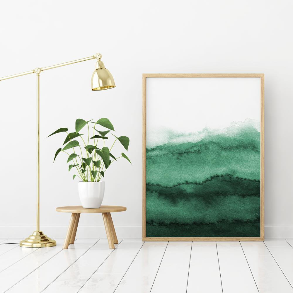Abstract Emerald Green Watercolour Painting 2 Paintings - Timiko Studio