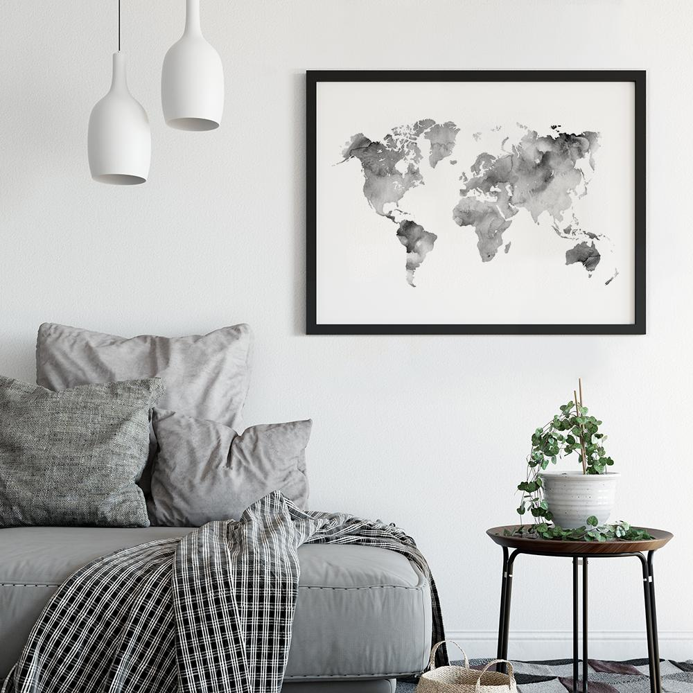 Silver grey watercolour world map poster timiko studio gumiabroncs Choice Image