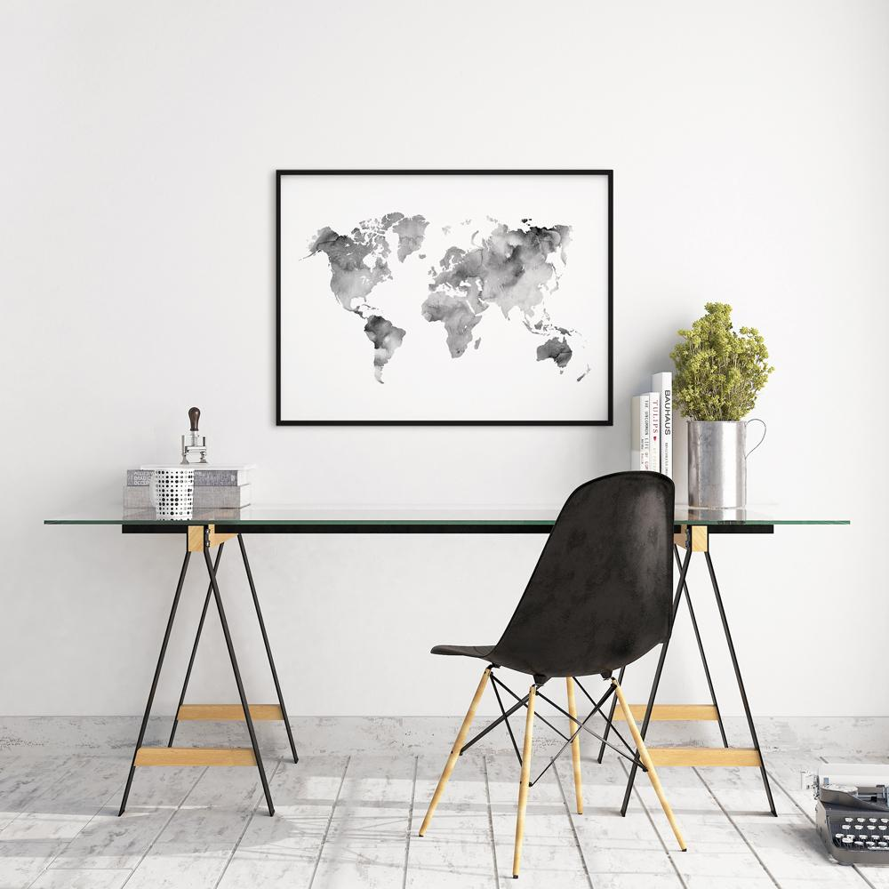 Blue world map poster timiko studio grey world map poster maps timiko studio gumiabroncs Gallery
