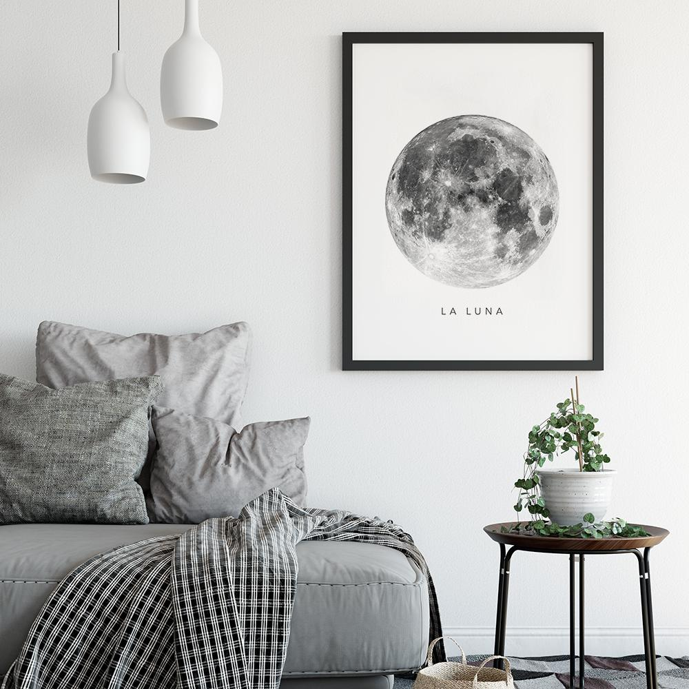 "La Luna ""The Moon"" Minimalistic Poster Space Prints - Timiko Studio"
