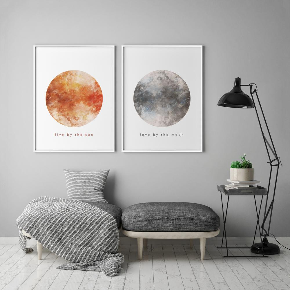 Sun and Moon Watercolour 2 Piece Set Poster Set of 2 Prints - Timiko Studio