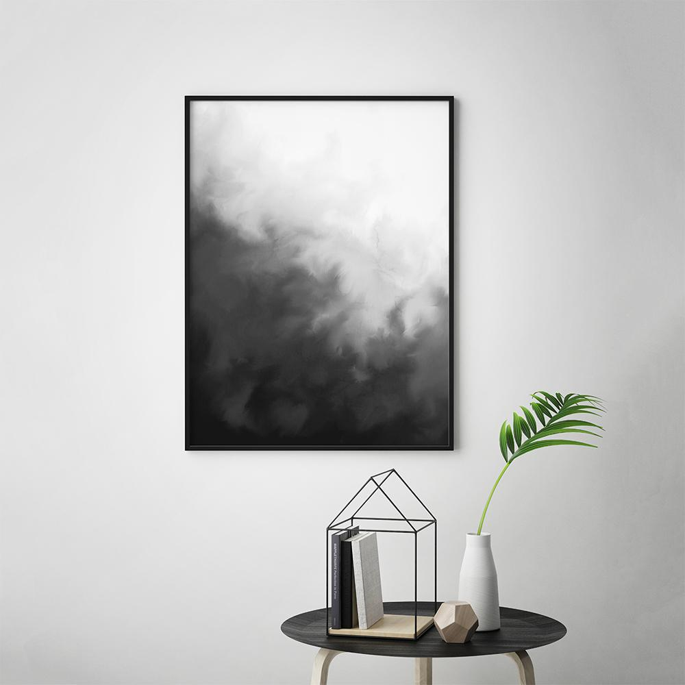 Modern black and white painting wall art poster 1 timiko studio
