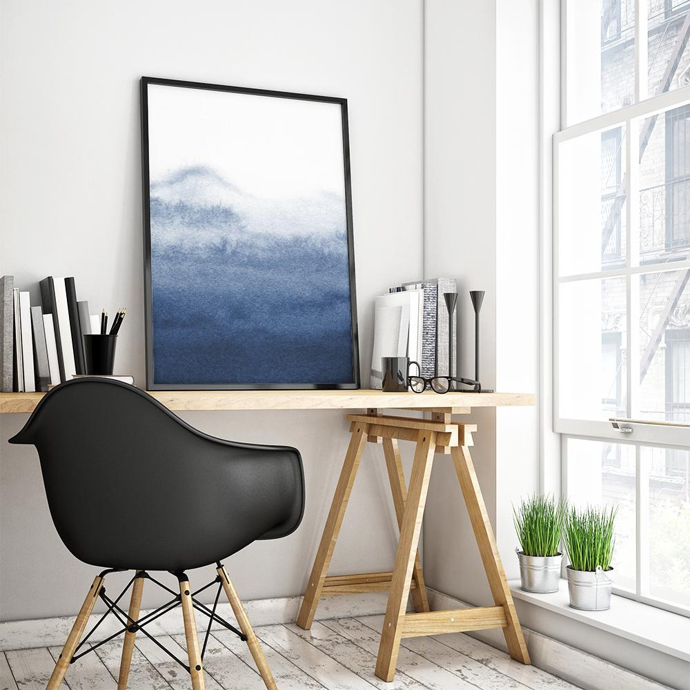 Abstract Blue Landscape Painting Poster 2 Paintings - Timiko Studio
