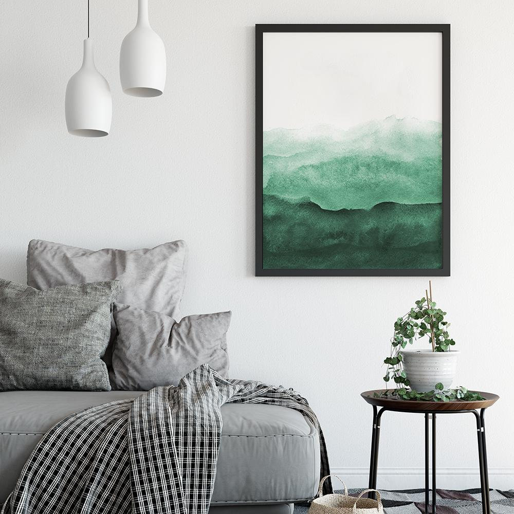 Minimalist Emerald Green Watercolour Painting 2 Paintings - Timiko Studio