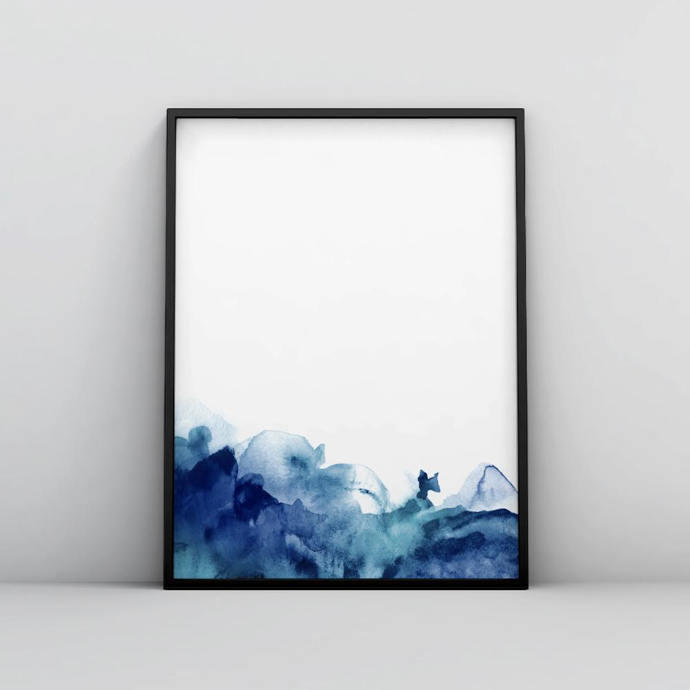 Minimalistic Blue Ink Wash Watercolor Art Print Ink Wash - Timiko Studio
