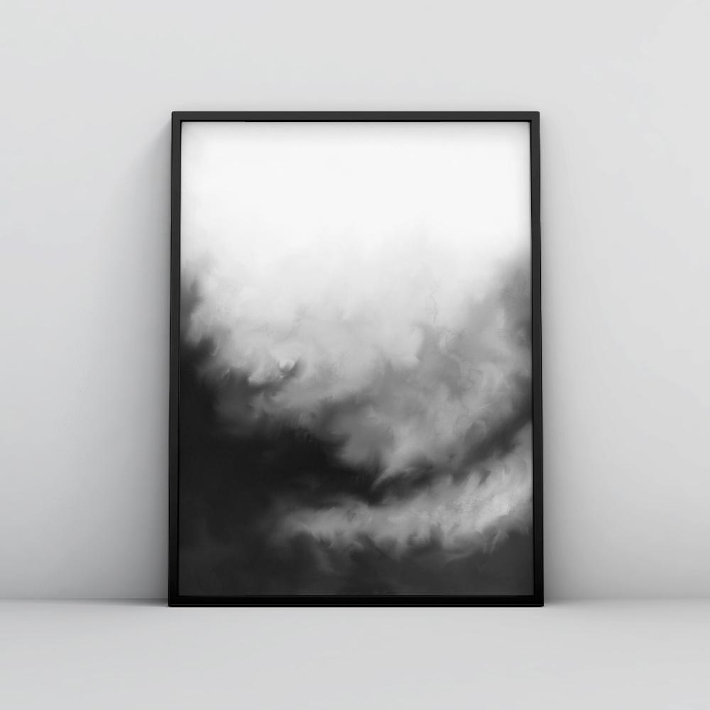 Modern Black and White Painting Wall Art Poster 2 Paintings - Timiko Studio