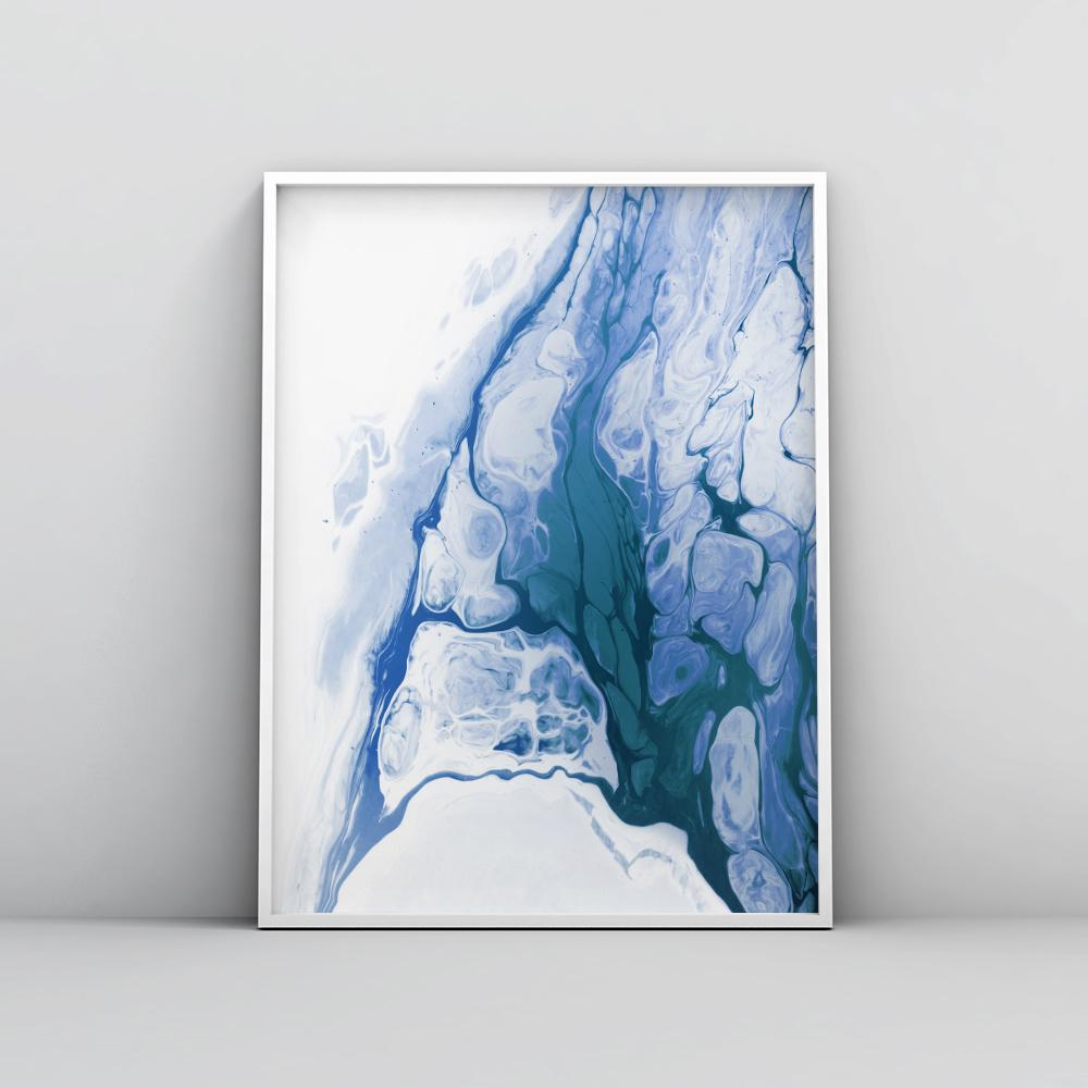 Abstract Deep Blue Fluid Painting Poster 2 Paintings - Timiko Studio