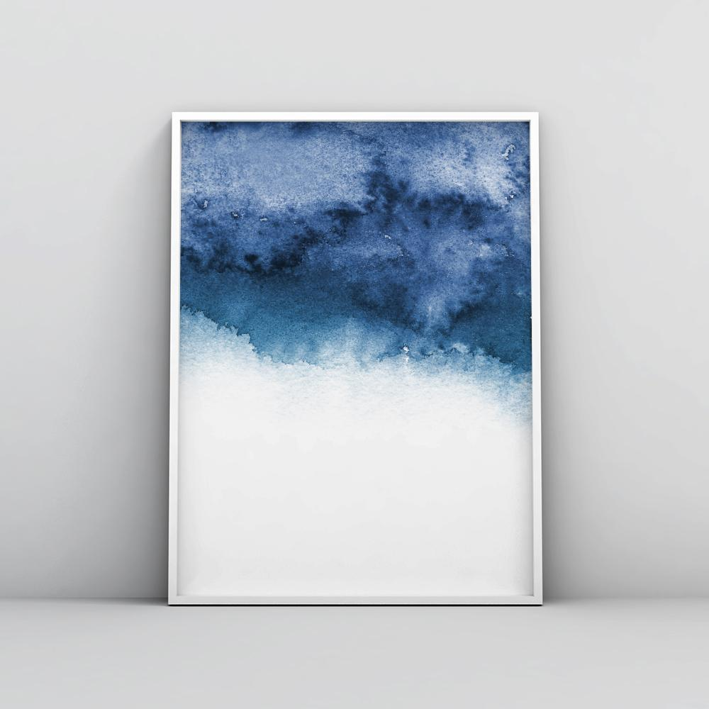 Minimalistic Winter Blue Painting Poster Paintings - Timiko Studio