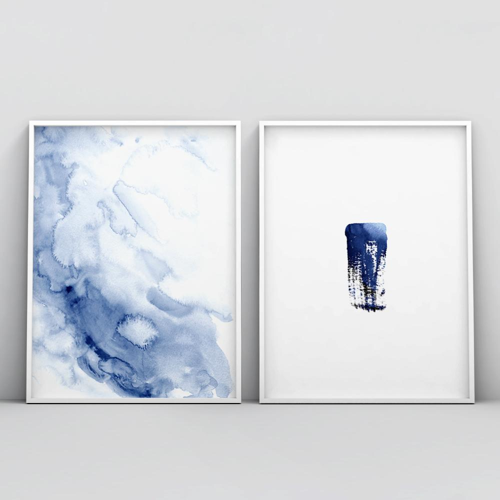 Minimalistic Dark Blue Brush Stroke Art Poster Brush Stroke - Timiko Studio