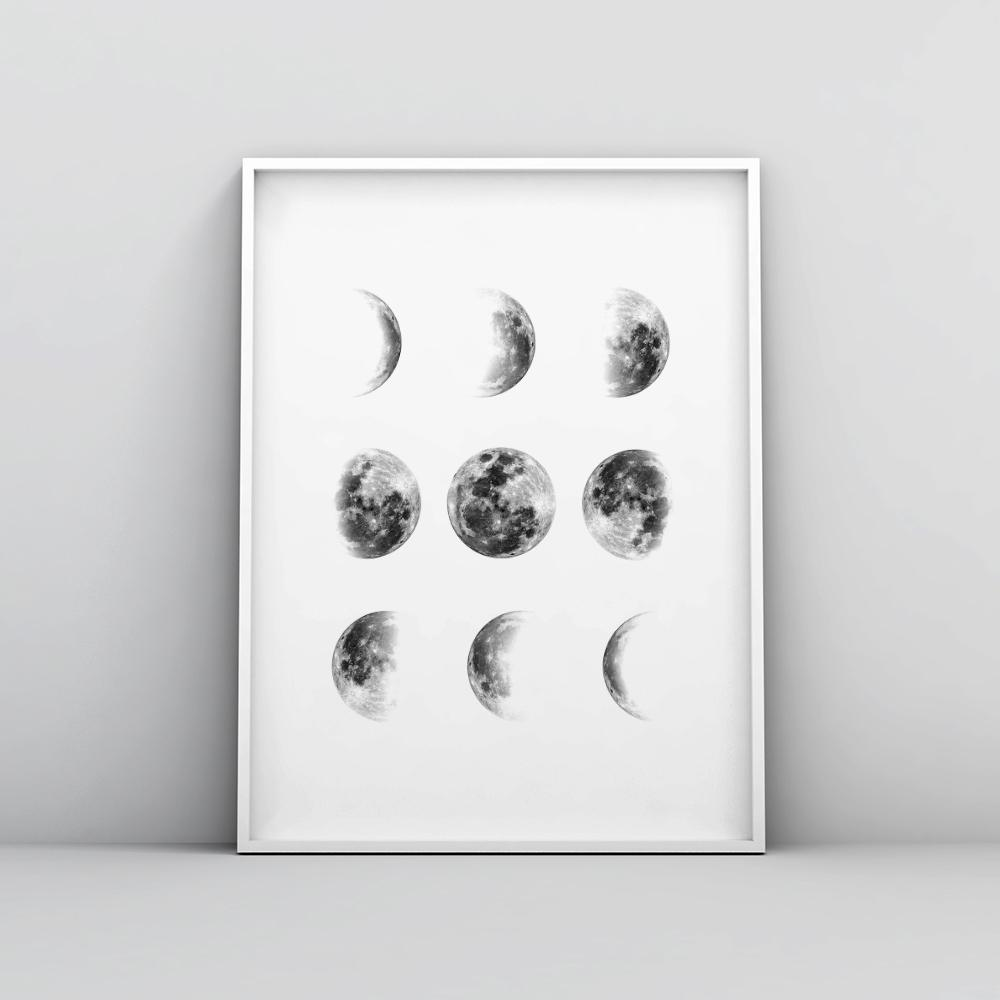 Phases of the Moon Wall Art Poster Space Prints - Timiko Studio