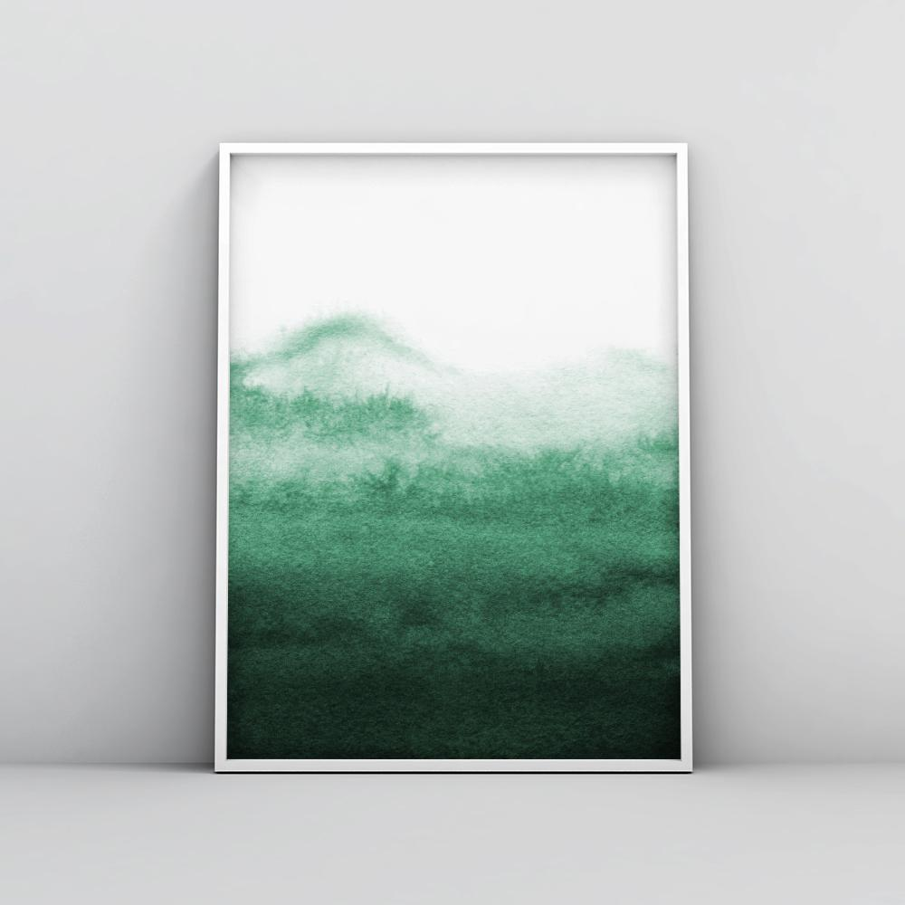 Abstract Emerald Green Watercolour Painting 3 Paintings - Timiko Studio