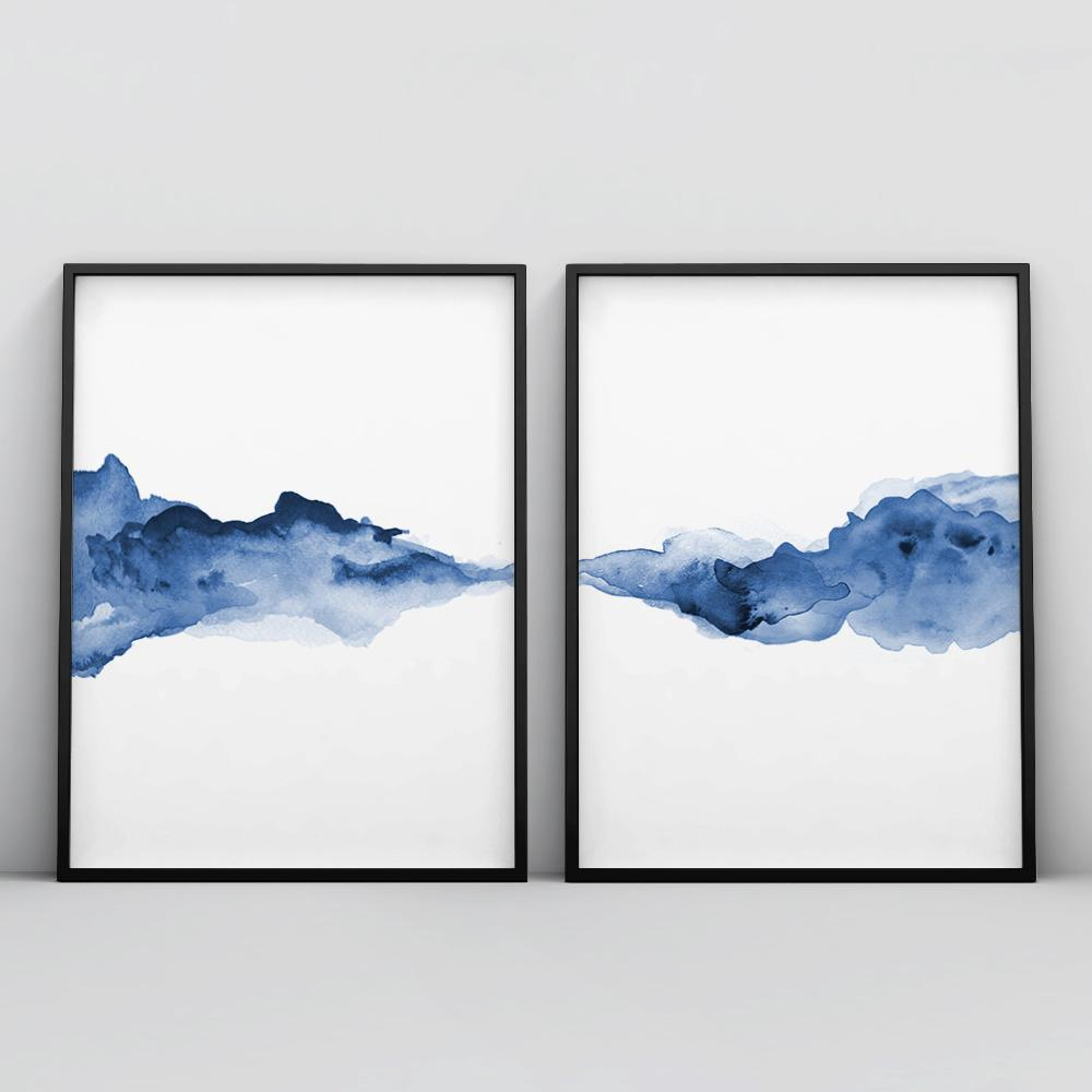 Abstract Blue Watercolour 2 Piece Poster Set Set of 2 Prints - Timiko Studio
